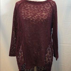 SALE ‼️ Cato plum Lace pullover layering piece. M